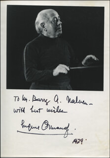 EUGENE ORMANDY - AUTOGRAPHED INSCRIBED PHOTOGRAPH 1979