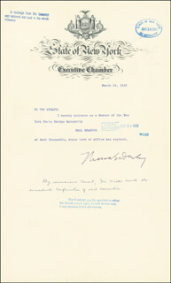 GOVERNOR THOMAS E. DEWEY - DOCUMENT SIGNED 03/10/1952