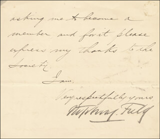 ASSOCIATE JUSTICE STEPHEN J. FIELD - MANUSCRIPT LETTER FRAGMENT SIGNED