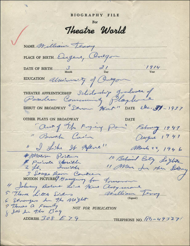 WILLIAM TERRY - AUTOGRAPH RESUME SIGNED