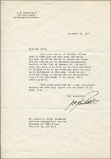 BRIGADIER GENERAL JAMES H. JIMMY DOOLITTLE - TYPED LETTER SIGNED 12/23/1957