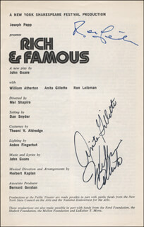 RICH & FAMOUS PLAY CAST - SHOW BILL SIGNED CO-SIGNED BY: ANITA GILLETTE, RON LEIBMAN, WILLIAM ATHERTON