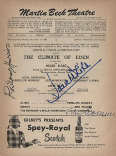THE CLIMATE OF EDEN PLAY CAST - SHOW BILL SIGNED CO-SIGNED BY: ROSEMARY HARRIS, JOHN CROMWELL, JANE WHITE