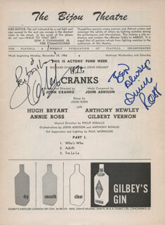 CRANKS PLAY CAST - INSCRIBED SHOW BILL SIGNED CO-SIGNED BY: ANTHONY NEWLEY, ANNIE ROSS