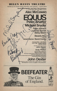 EQUUS PLAY CAST - SHOW BILL SIGNED CO-SIGNED BY: ALEC McCOWEN, LAURINDA BARRETT, BEVERLY MAY, PATRICK BEDFORD, MICHAEL SNYDER