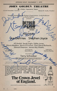 DEVOUR THE SNOW PLAY CAST - SHOW BILL SIGNED CO-SIGNED BY: JON DEVRIES, KEVIN O'CONNOR, JILL ANDRE, STEPHEN JOYCE, JAMES RAY WEEKS, GLORIA MADDOX, SARAH INGLIS
