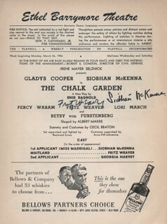 CHALK GARDEN PLAY CAST - SHOW BILL SIGNED CO-SIGNED BY: FRITZ WEAVER, SIOBHAN McKENNA