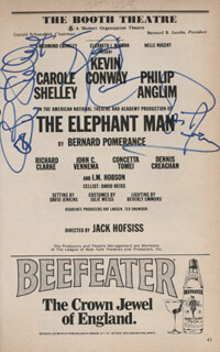 THE ELEPHANT MAN PLAY CAST - SHOW BILL SIGNED CO-SIGNED BY: KEVIN CONWAY, CAROLE SHELLEY, PHILIP ANGLIM