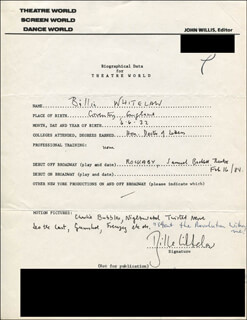 BILLIE WHITELAW - AUTOGRAPH RESUME SIGNED