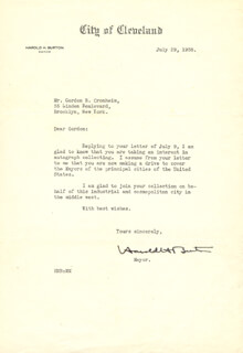 Autographs: ASSOCIATE JUSTICE HAROLD H. BURTON - TYPED LETTER SIGNED 07/29/1938