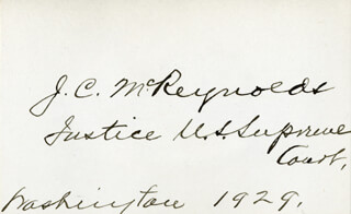 ASSOCIATE JUSTICE JAMES C. MCREYNOLDS - AUTOGRAPH 1929