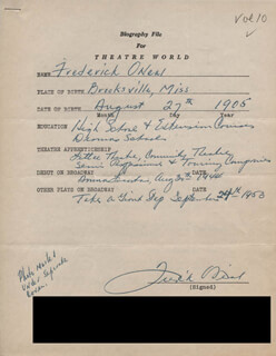 FREDERICK O'NEAL - AUTOGRAPH RESUME SIGNED