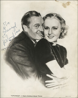 ESPIONAGE MOVIE CAST - INSCRIBED PRINTED PHOTOGRAPH SIGNED IN INK CO-SIGNED BY: EDMUND LOWE, MADGE EVANS