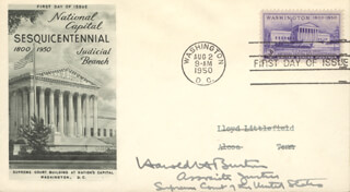 Autographs: ASSOCIATE JUSTICE HAROLD H. BURTON - FIRST DAY COVER SIGNED