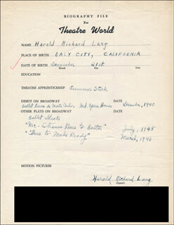 HAROLD RICHARD LANG - AUTOGRAPH RESUME SIGNED