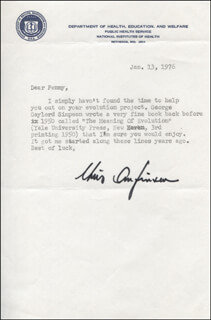 CHRISTIAN B. ANFINSEN - TYPED LETTER SIGNED 01/13/1976