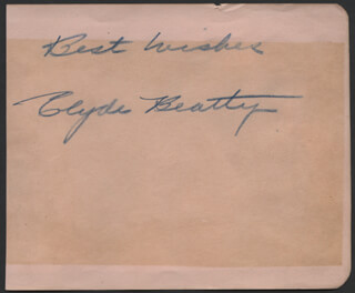 CLYDE BEATTY - AUTOGRAPH SENTIMENT SIGNED