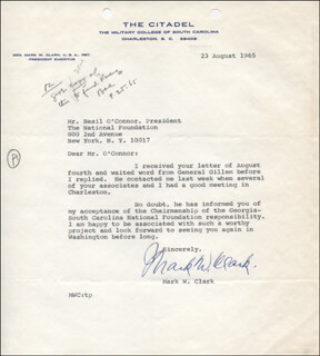 Autographs: GENERAL MARK W. CLARK - TYPED LETTER SIGNED 08/23/1965