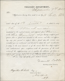 Autographs: MAJOR GENERAL HOWELL COBB - DOCUMENT SIGNED 09/07/1857 CO-SIGNED BY: AUGUSTUS SCHELL