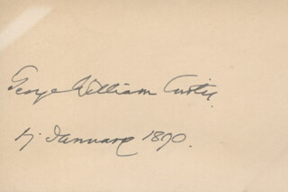 GEORGE WILLIAM CURTIS - AUTOGRAPH 01/17/1890