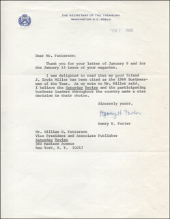 Autographs: HENRY H. FOWLER - TYPED LETTER SIGNED 02/07/1968