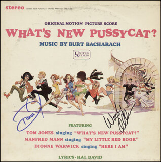 WHAT'S NEW PUSSYCAT MOVIE CAST - RECORD SIGNED CO-SIGNED BY: WOODY ALLEN, DIONNE WARWICK