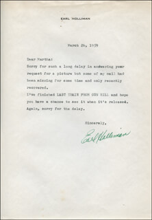 EARL HOLLIMAN - TYPED LETTER SIGNED 03/26/1959