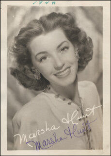 MARSHA HUNT - PRINTED PHOTOGRAPH SIGNED IN INK