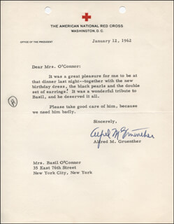 GENERAL ALFRED M. GRUENTHER - TYPED LETTER SIGNED 01/12/1962