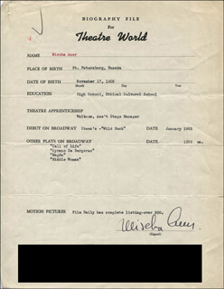 MISCHA AUER - TYPED RESUME SIGNED