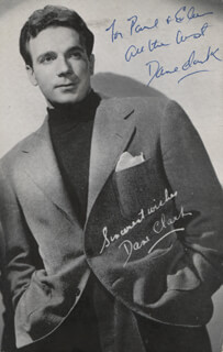 DANE CLARK - INSCRIBED PICTURE POST CARD TWICE SIGNED CIRCA 1944
