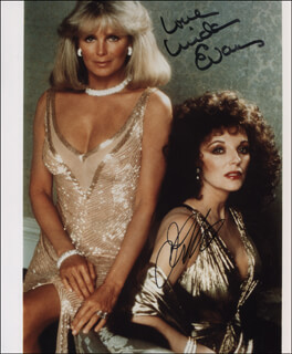 DYNASTY TV CAST - AUTOGRAPHED SIGNED PHOTOGRAPH CO-SIGNED BY: JOAN COLLINS, LINDA EVANS