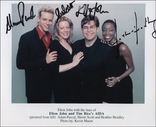 ELTON JOHN AND TIM RICE'S AIDA PLAY CAST - AUTOGRAPHED SIGNED PHOTOGRAPH CO-SIGNED BY: SIR ELTON JOHN, SHERIE RENE SCOTT, ADAM PASCAL, HEATHER HEADLEY