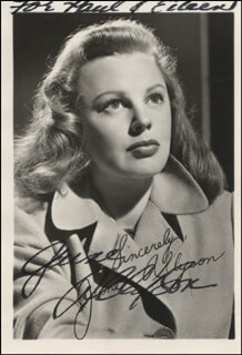 JUNE ALLYSON - INSCRIBED PRINTED PHOTOGRAPH SIGNED IN INK