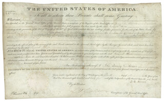 PRESIDENT JOHN QUINCY ADAMS - LAND GRANT SIGNED 04/15/1825 CO-SIGNED BY: GEORGE GRAHAM