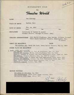 TOM ALDREDGE - TYPED RESUME SIGNED