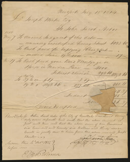 Autographs: JOHN JACOB ASTOR - MANUSCRIPT DOCUMENT SIGNED 07/18/1814