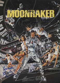 Autographs: JAMES BOND MOONRAKER MOVIE CAST - PROGRAM SIGNED CO-SIGNED BY: LOIS MAXWELL, RICHARD KIEL, SHIRLEY BASSEY, DESMOND LLEWELYN, LOIS CHILES, BLANCHE RAVALEC, ANNE LONNBERG, MICHAEL LONSDALE, CORINNE CLERY