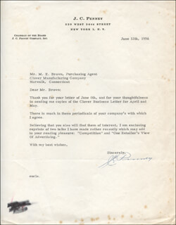 J. C. (JAMES CASH) PENNEY - TYPED LETTER SIGNED 06/12/1956