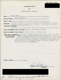 Autographs: HOPE ARTHUR - TYPED RESUME SIGNED