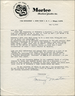TOMMY MORTON - TYPED LETTER SIGNED 05/02/1949