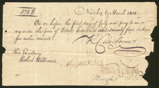 Autographs: ROBERT WILLIAMS - PROMISSORY NOTE SIGNED 03/01/1808 CO-SIGNED BY: GEORGE T. ROSS, RICHARD CLAIBORNE, JOHN HENDERSON