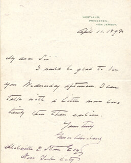 PRESIDENT GROVER CLEVELAND - AUTOGRAPH LETTER SIGNED 04/11/1898