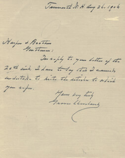 PRESIDENT GROVER CLEVELAND - AUTOGRAPH LETTER SIGNED 08/26/1906