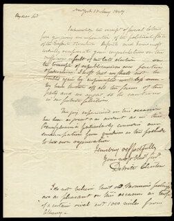 GOVERNOR DEWITT CLINTON - AUTOGRAPH LETTER SIGNED 05/15/1807
