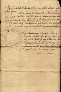 Autographs: GOVERNOR DEWITT CLINTON - MANUSCRIPT DOCUMENT SIGNED 01/05/1828