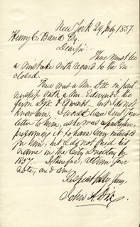 Autographs: MAJOR GENERAL JOHN A. DIX - AUTOGRAPH LETTER SIGNED 07/29/1857