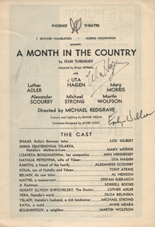 Autographs: A MONTH IN THE COUNTRY PLAY CAST - SHOW BILL SIGNED CO-SIGNED BY: UTA HAGEN, EMLYN WILLIAMS