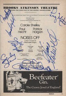 NOISES OFF PLAY CAST - SHOW BILL SIGNED CO-SIGNED BY: PAUL HECHT, LUCY MARTIN, CAROLE SHELLEY, JULIE BOYD, DIANE STILWELL, RANDLE MELL, ALEXANDER SANDY SPENCER