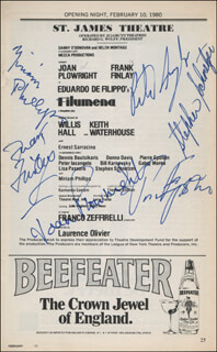 FILUMENA PLAY CAST - SHOW BILL SIGNED CO-SIGNED BY: JOAN PLOWRIGHT, FRANK FINLAY, STEPHEN SCHNETZER, PIERRE EPSTEIN, PETER IACANGELO, MIRIAM PHILLIPS